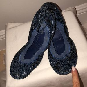 Blue snakeskin Yosi Samra ballet flats